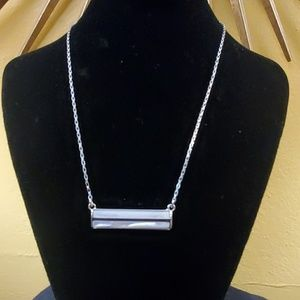 Ann Taylor Silver White Bar Pendant Necklace #396